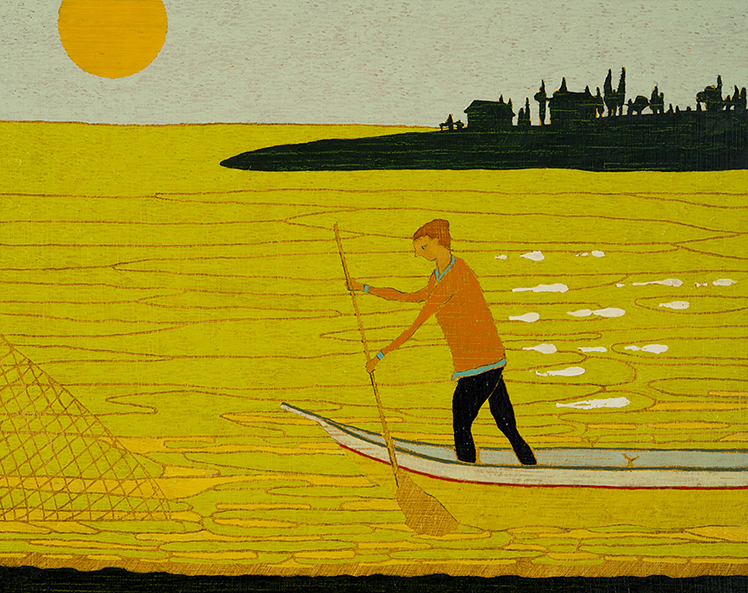 Net/Boat, 39 x 49 cm, Oil on Panel, 2014, Private Collection <br> My compt het mager, den andere het vet ick vische altyt achter het net (I get the lean, the other the fat I always fish behind the net)