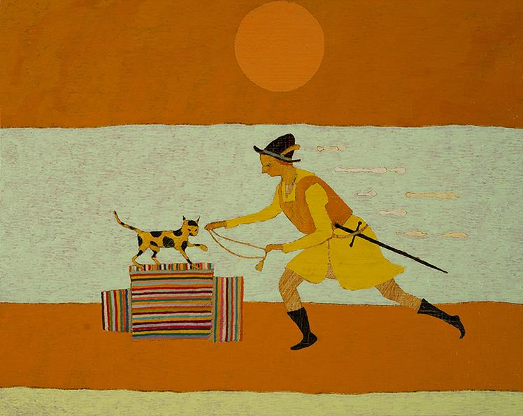 Cat/Bell, 39 x 49 cm, Oil on Panel, 2014, Private Collection <br> 't Harnasch maeckt my een stouten haen ick hanghe de kat de belle aen (With a breast plate I am an intrepid cock I put the bell on the cat)