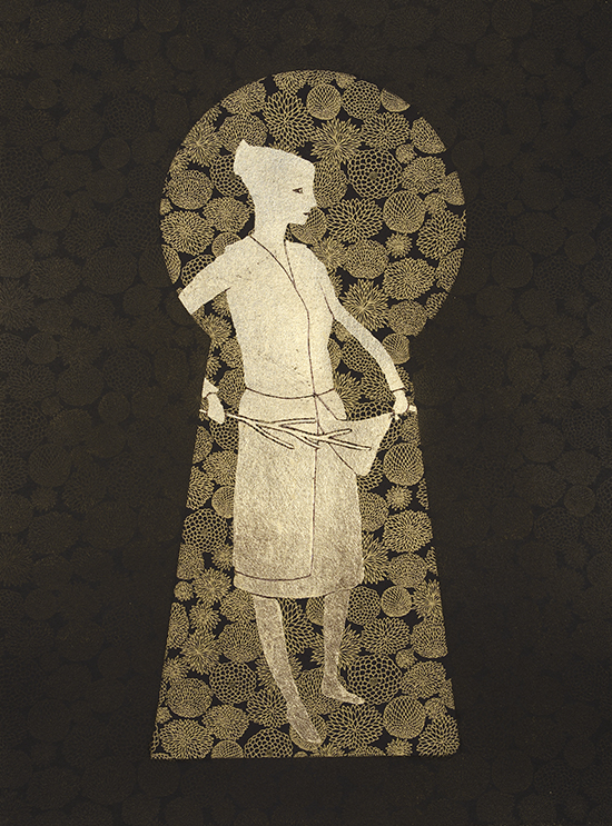 52 x 42 cm, Etching with chine collé and goldleaf, 2013