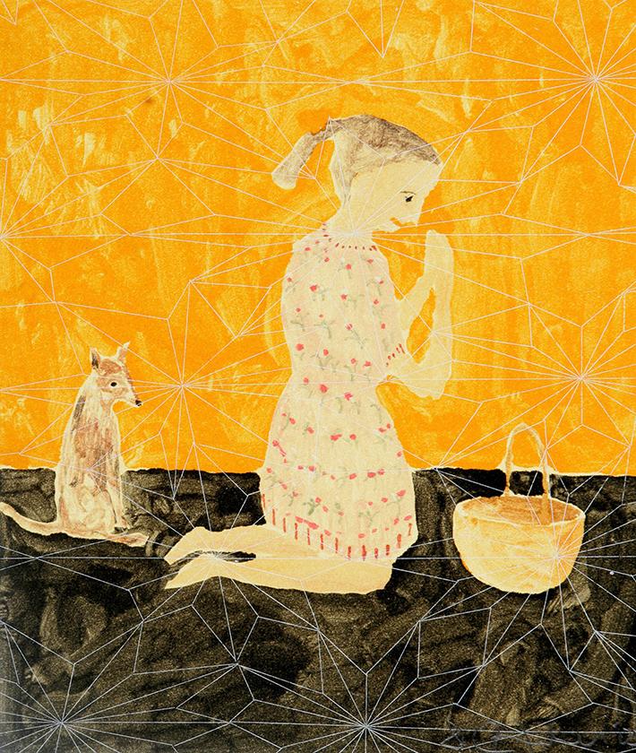 St Ursula (with hound), 25 x 21 cm, Monotype, 2005
