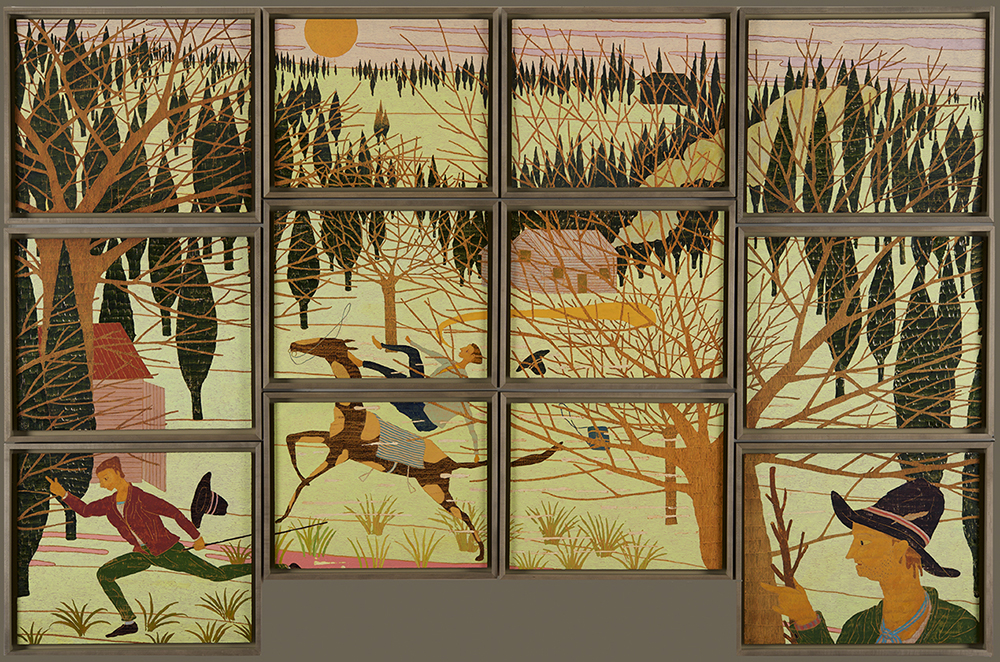 A Painting of Three Stories, 130 x 200 cm (12 framed panels), Oil on Panel, 2015, Stephen Chambers Studio