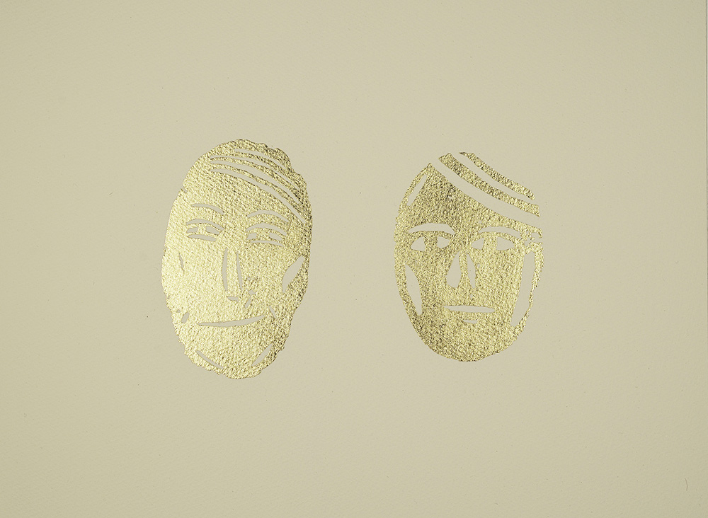 Heaven on Earth, 29 x 35 cm, Potatoprint with goldleaf, Edition of 20, Printed by Stamperia d'Arte Berardinelli, Verona, 2013