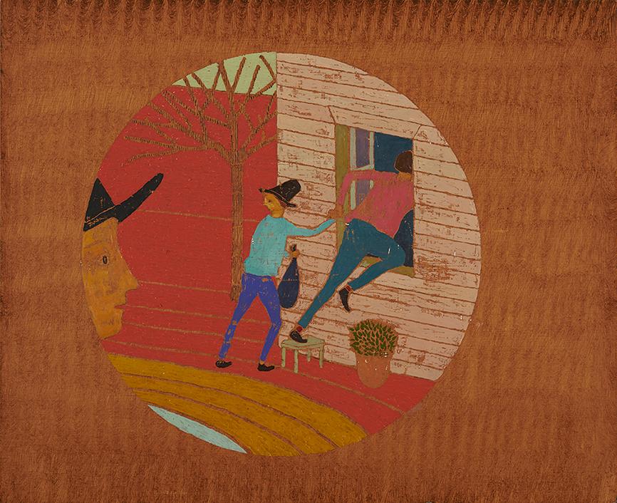 House Burglar, 39 x 48 cm, Oil on Panel, 2015, Stephen Chambers Studio