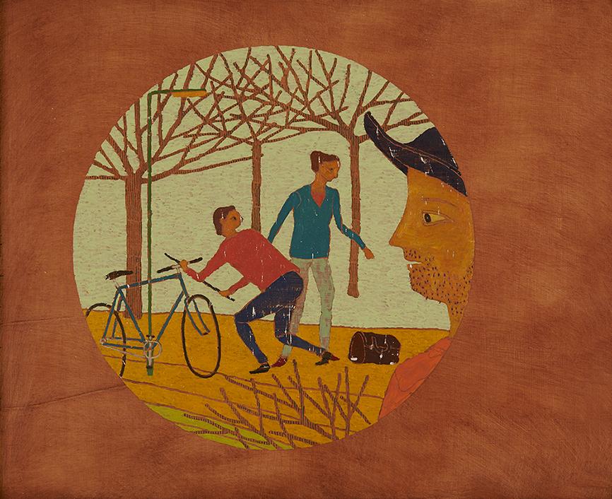 Bicycle Thief, 39 x 48 cm, Oil on Panel, 2015, Stephen Chambers Studio