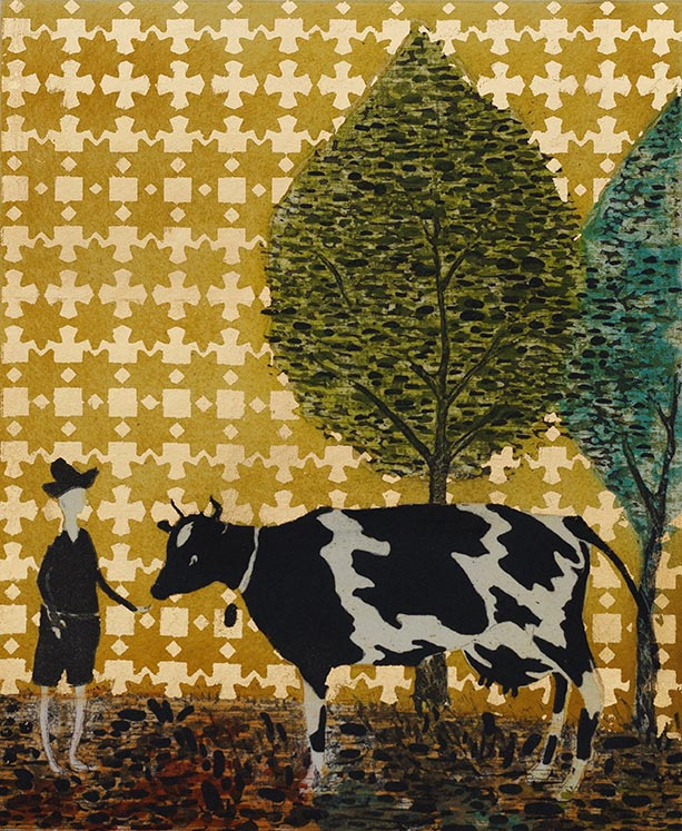 Cow & Brother, 33 x 28 cm, Etching with gold leaf, 2015