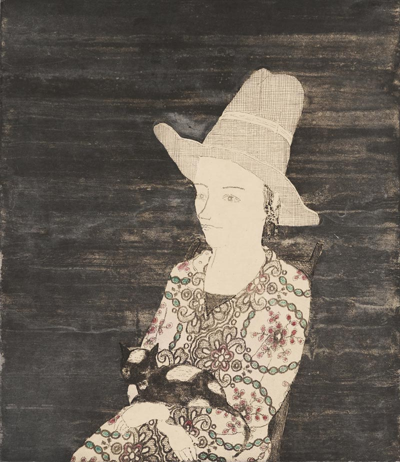 Lady Big Hat / Black Cat, 45 x 40 cm, Etching with chine collé, 2017
