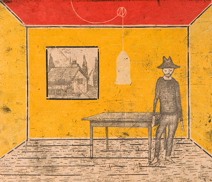 Shacklife, 49.5 x 53 cm, Ed.20, Etching with chine collé, 2003